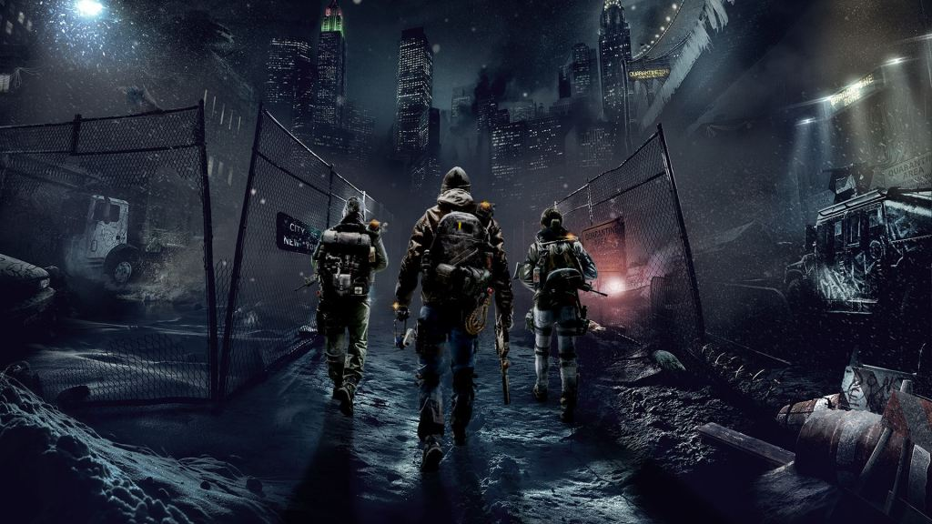 3 soldiers walk through a city in the game the division
