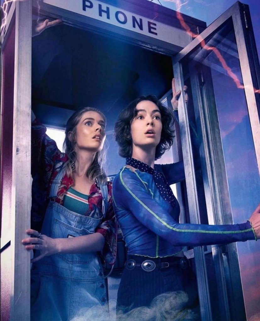 billie and thea bill and ted face the music phone booth